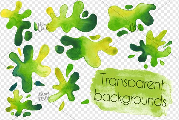 Watercolour green illustrations creative. Slime clipart