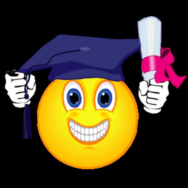 Smiley clipart graduation. Emoticon ceremony clip art