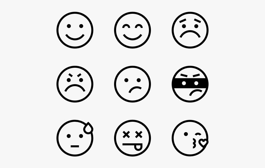 Black white emoji icons. Smiley clipart icon