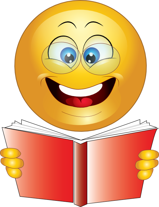 Study clipart emoticon. Yellow wise smiley i
