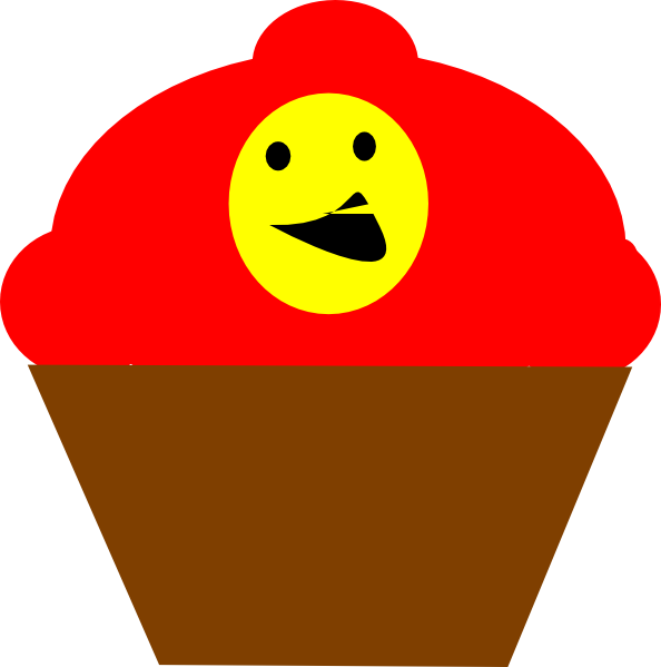 Redbrown smiling face clip. Lady clipart cupcake