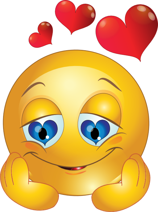 Loving smiley face eyes. Study clipart emoticon