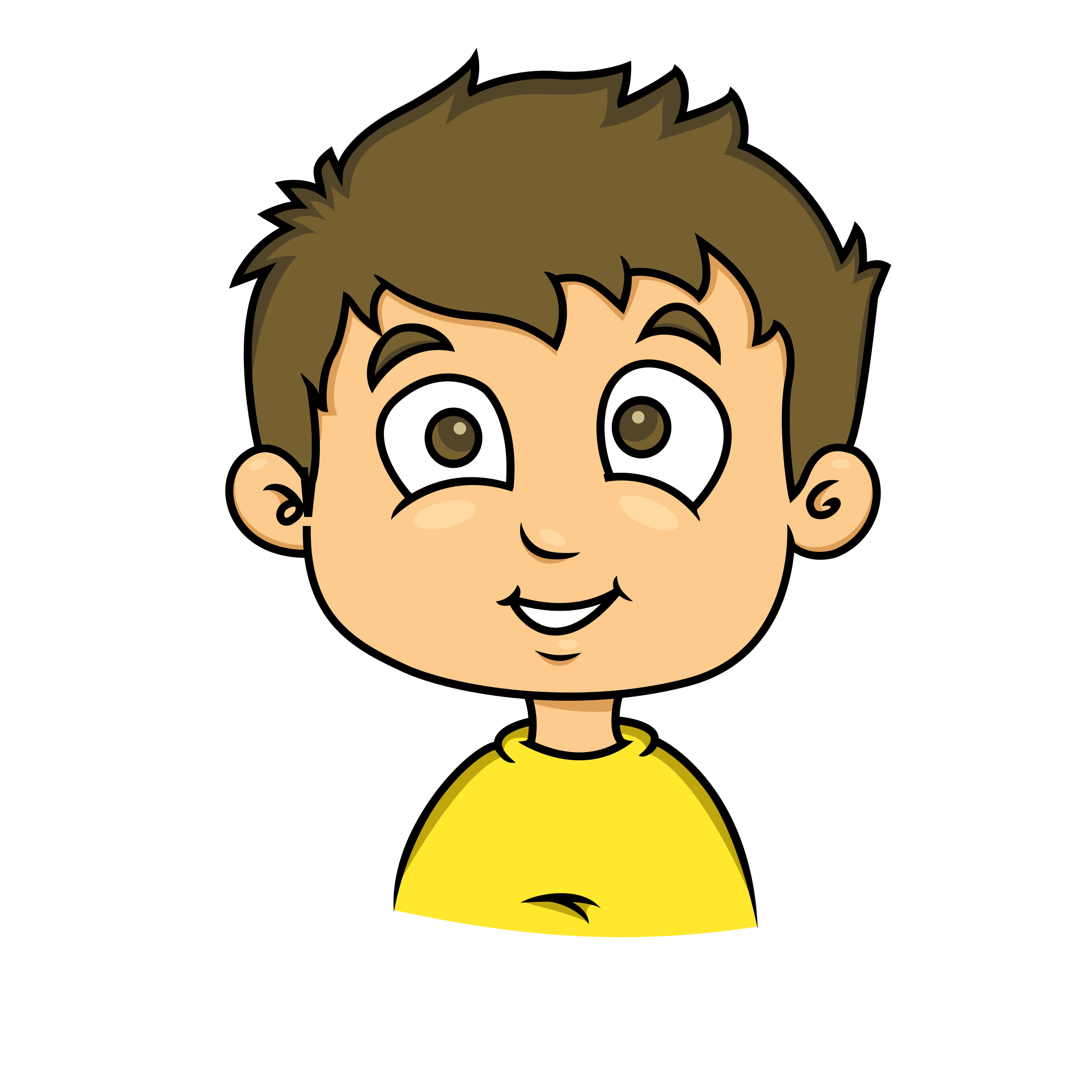 Smiling face of a. Shy clipart cartoon boy