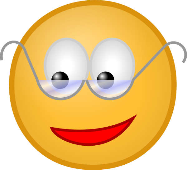 Animated with glasses. Smiley face clip art professional