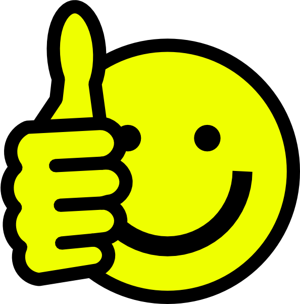 Smiley face thumbs up. Wow clipart emoticon