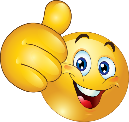 Thumbs up happy emoticon. Smiley face clip art thank you