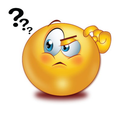 Smiley face clip art thinking. With question mark emoji