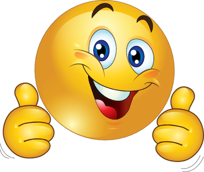 Thumbs up smiley face. Positive clipart emoji