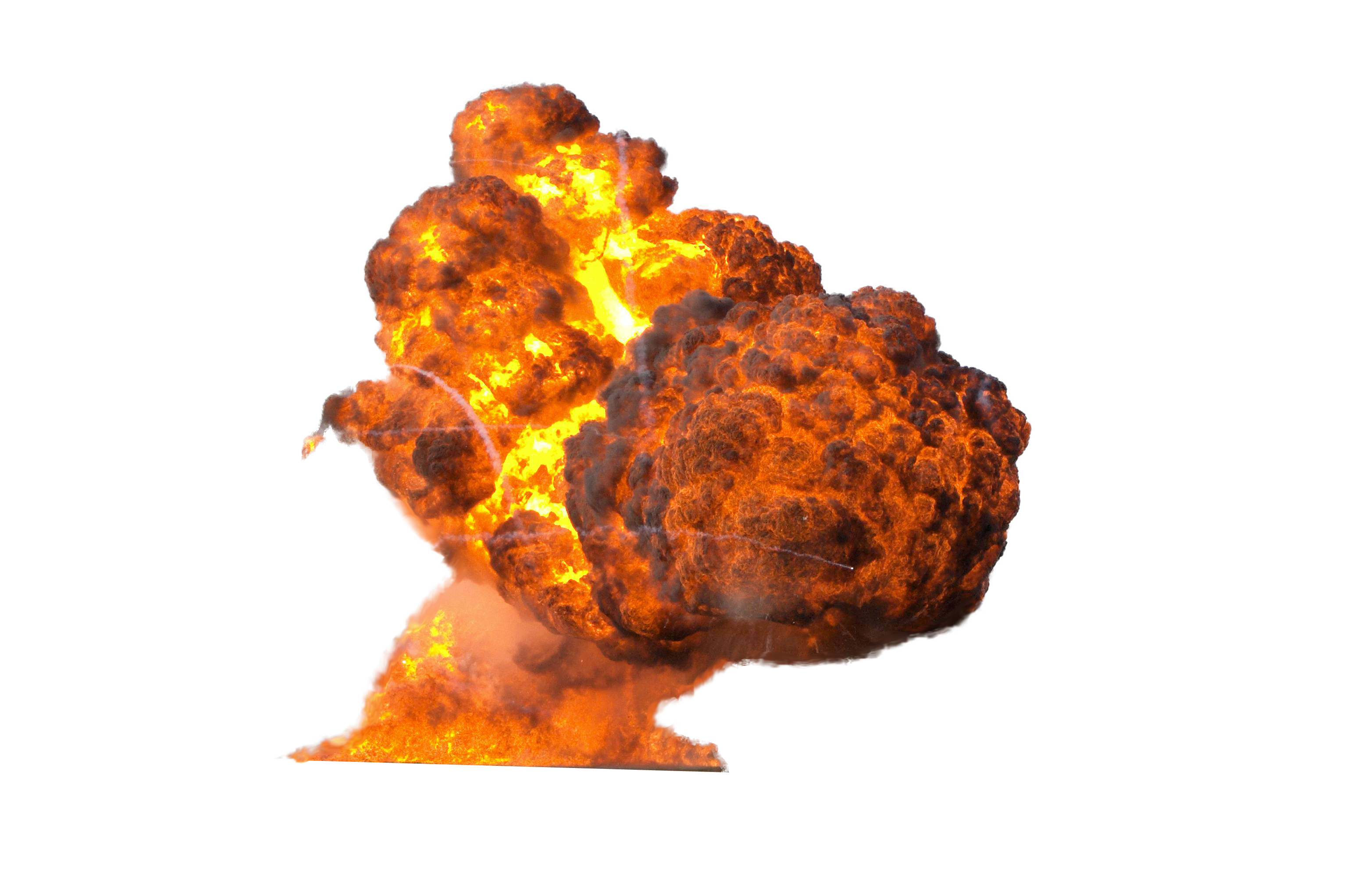 Big explosion with fire. Smoke bomb png