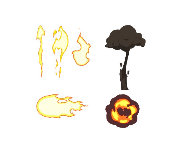 Smoke cartoon png. Fire and animated fx