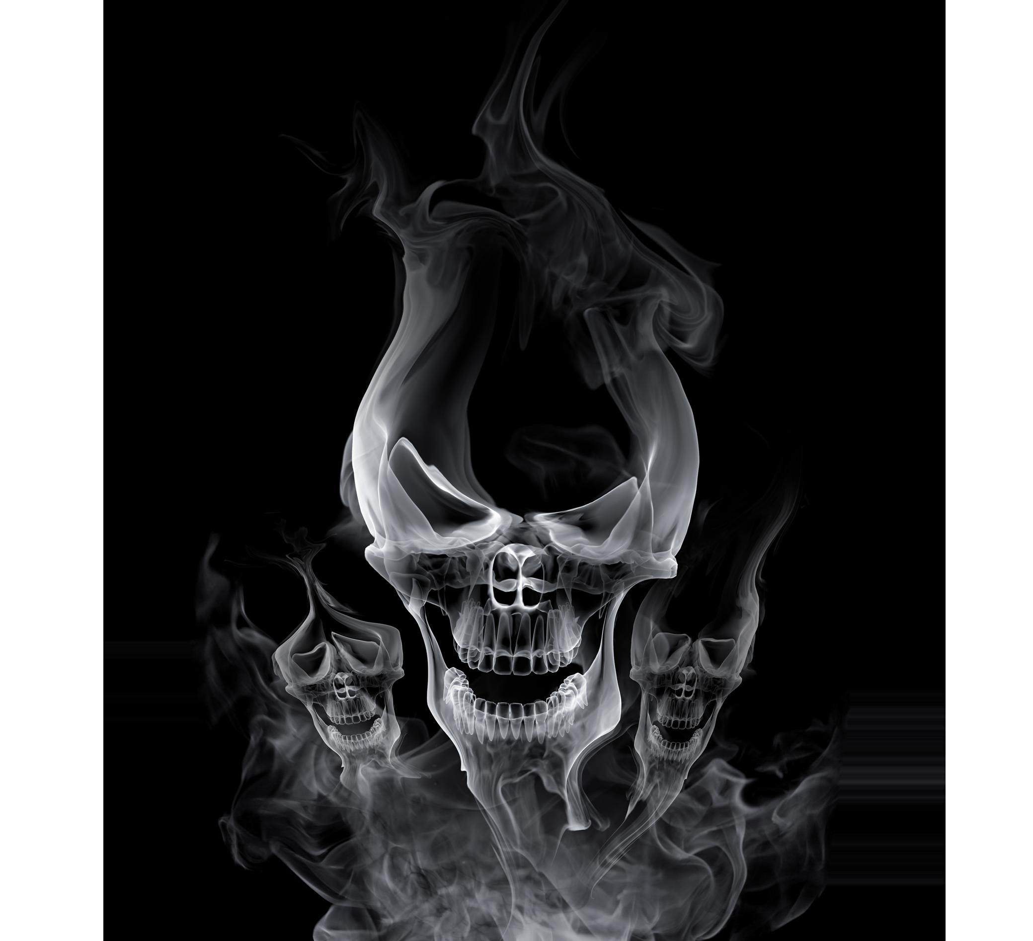 Smoke skull png. Black design transprent free
