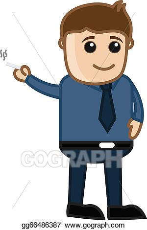 Vector illustration man cigarette. Smoking clipart cartoon guy
