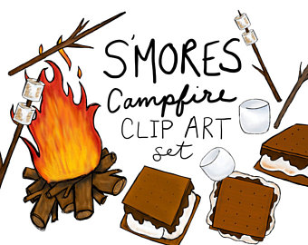 Smores clipart. Etsy hand drawn clip