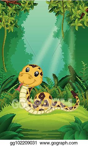 Snake clipart forest. Vector illustration in the