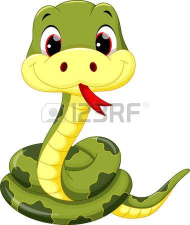 Snake clipart illustration. Green cute baby cartoon
