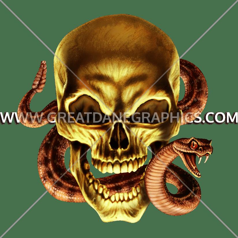 Snake clipart skull. Production ready artwork for