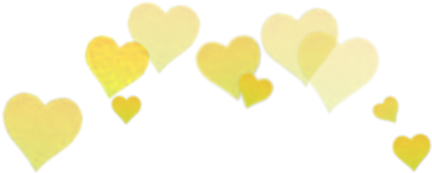 Yellow filter selfie crown. Snapchat hearts png