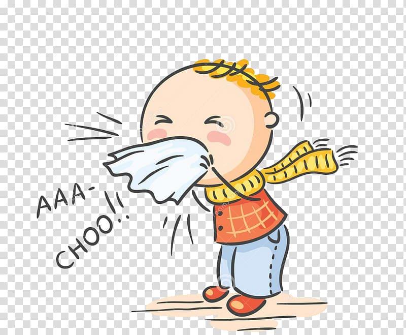 Flu clipart influenza symptom. Sneezing boy illustration common