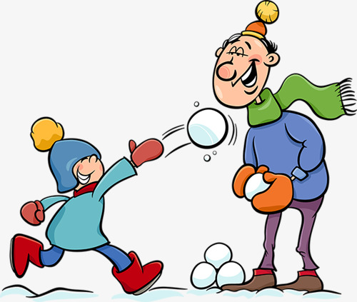 Snowball clipart. Hand painted children throwing