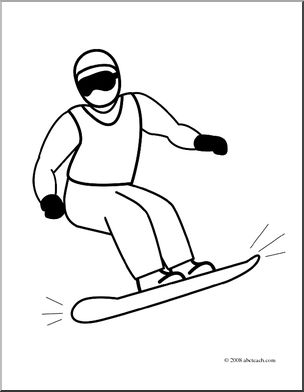 Clip art coloring page. Snowboarding clipart