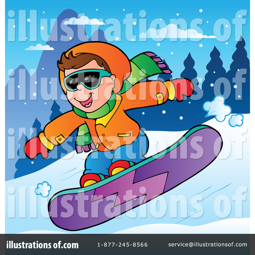 Snowboarding clipart. Illustration by visekart royaltyfree
