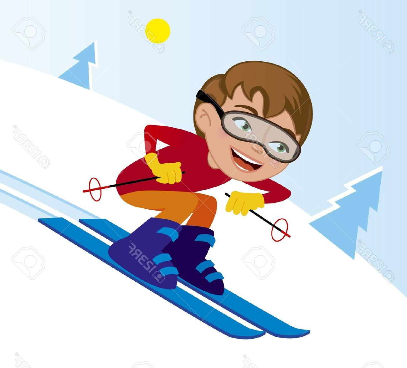 Unique skiing cartoon vector. Snowboarding clipart