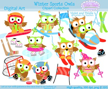 Snowboarding clipart. Winter sports games owls