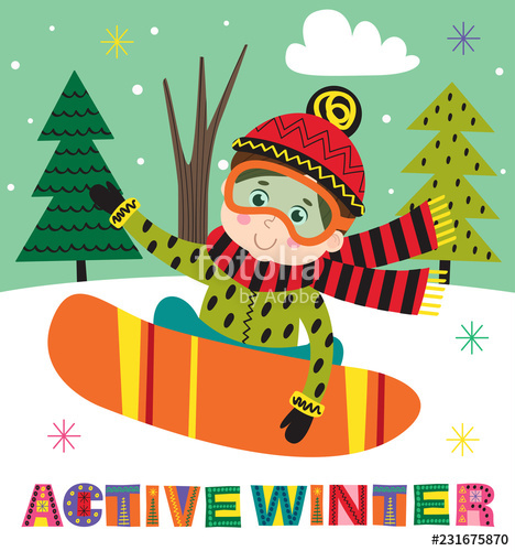 Snowboarding clipart active boy. Winter poster with on