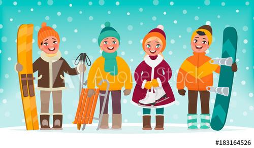 Winter children s recreation. Snowboarding clipart active boy