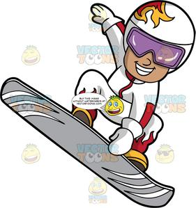 Snowboarding clipart active boy. A doing trick on