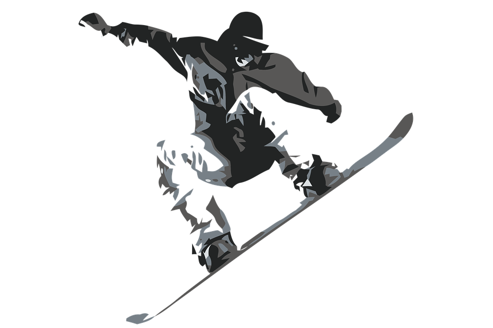 Jumping png free download. Snowboarding clipart black and white