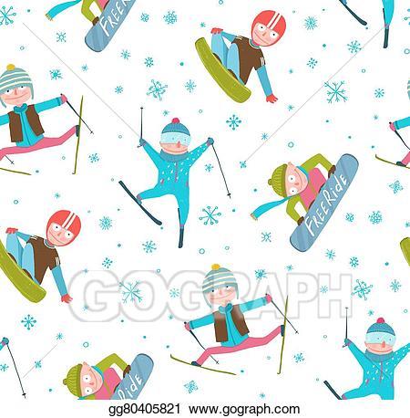 Snowboarding clipart winter fun. Vector skier snowboarder sport