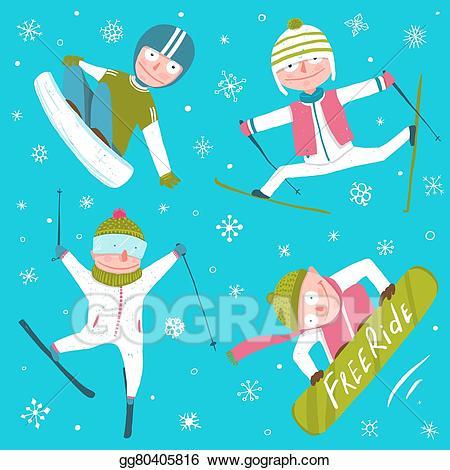 Vector art ski snowboard. Snowboarding clipart winter fun
