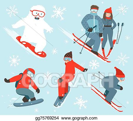 Snowboarding clipart winter fun. Eps illustration skier and