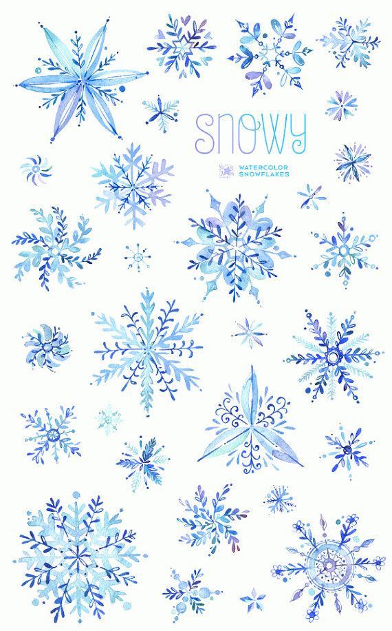 Winter clipart blue. Snowy watercolor snowflakes christmas