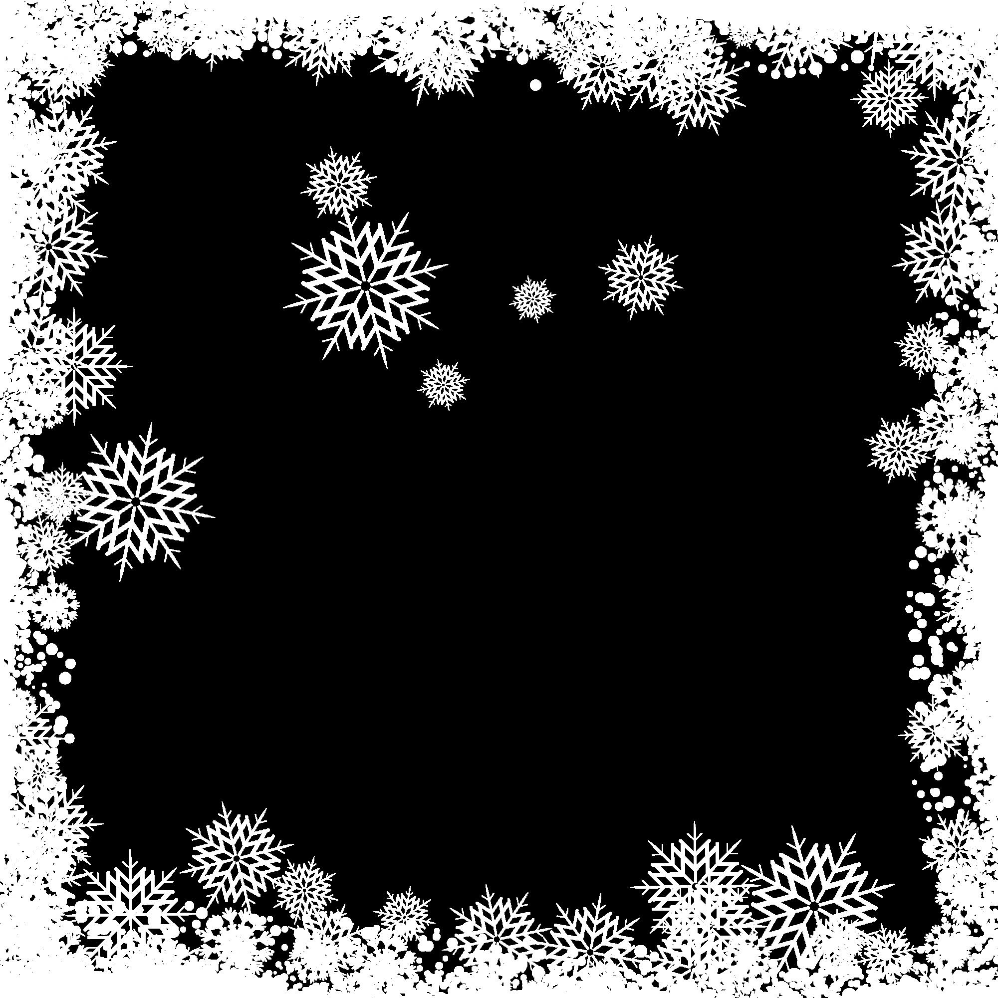 White symmetry black angle. Snowflake frame png