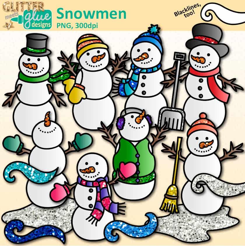 Snowman clipart. Snowmen teacher clip art