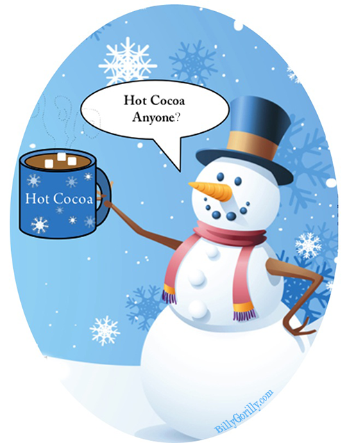 Snowman clipart hot chocolate. Cocoa recipe gift tags