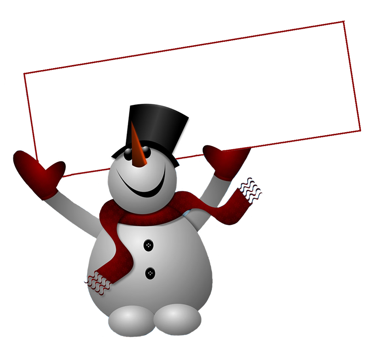 Snowman with sign clip. Winter clipart letter