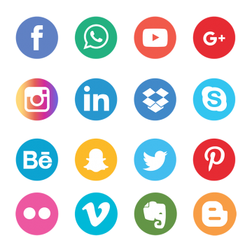 Social icon png. Media icons vectors psd