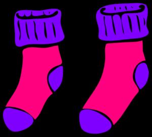 Sock clipart. Pink purple clip art