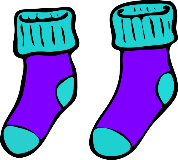 Turquoise purple clip art. Wednesday clipart sock