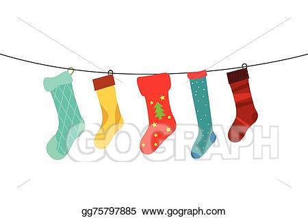 Vector illustration christmas socks. Sock clipart cute sock