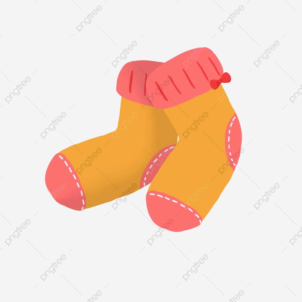 Socks orange pink child. Sock clipart cute sock