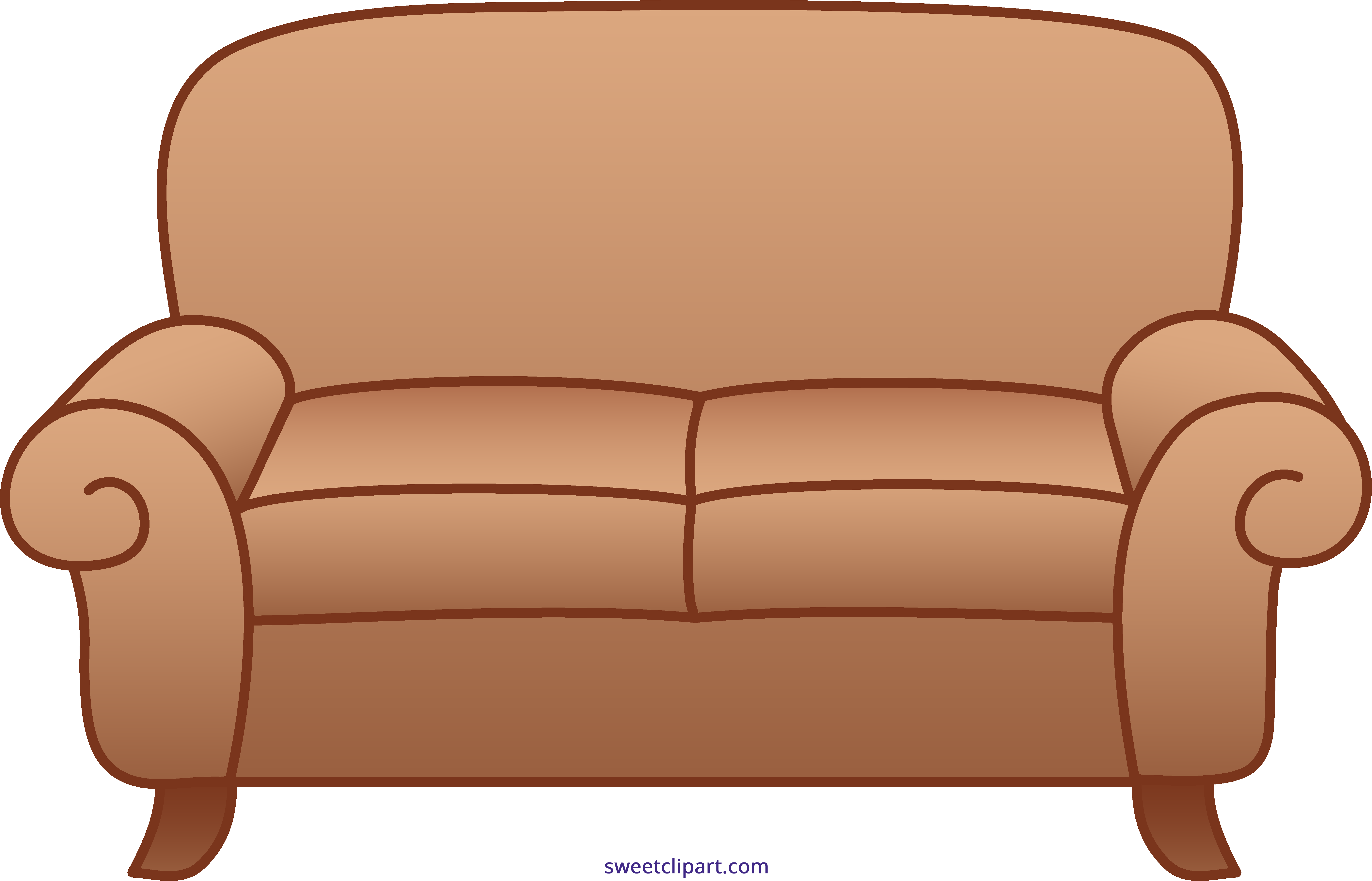 Sofa beige sweet clip. Clipart chair brown object