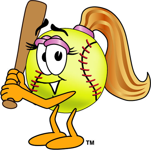 Illustration of female with. Softball clipart cartoon