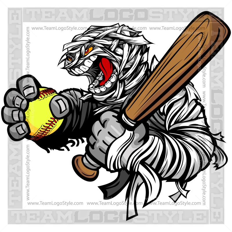 Mummy fastpitch clip art. Softball clipart halloween