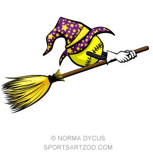 Softball clipart halloween. Witch sports golf