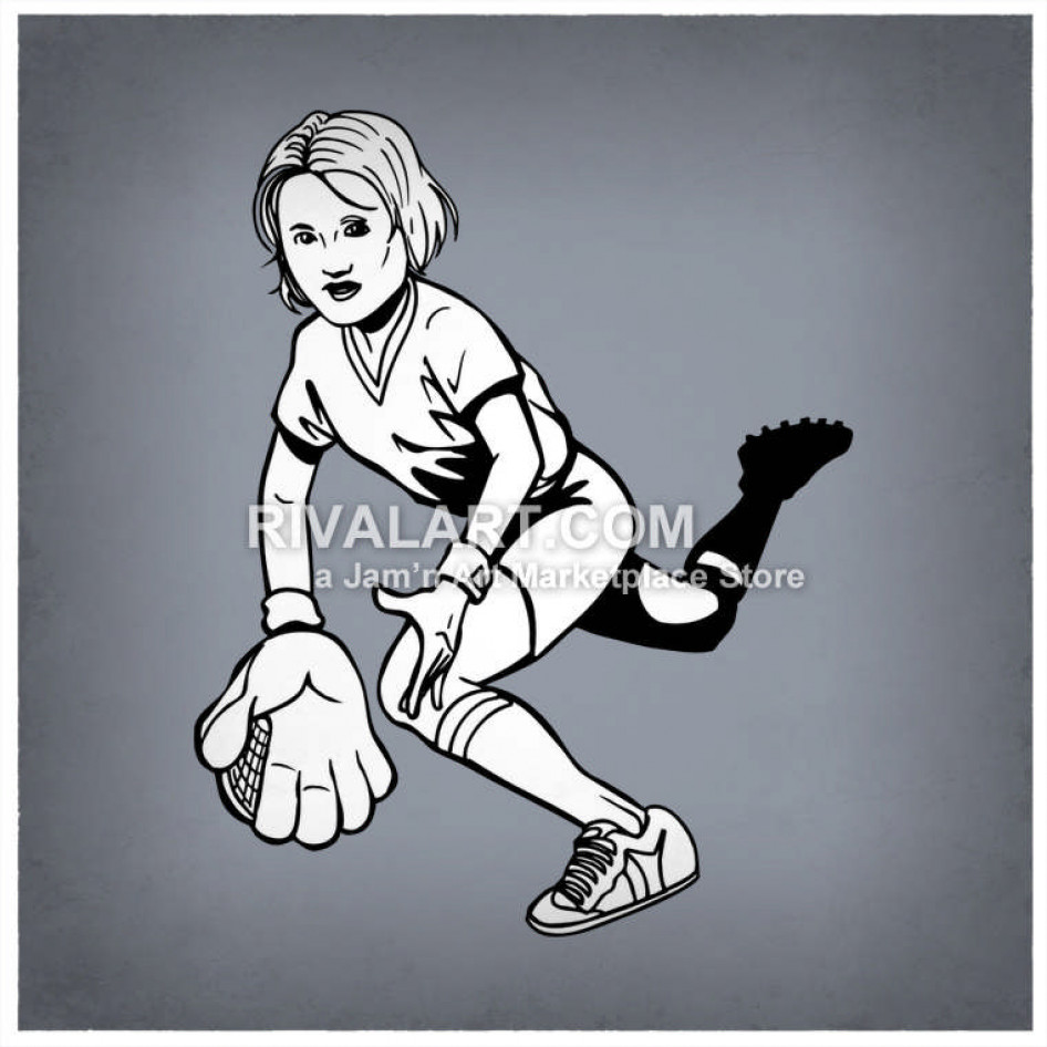 Girls catching graphic black. Softball clipart outfielder