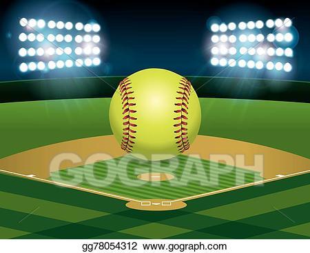 Softball clipart softball field. Vector art on eps